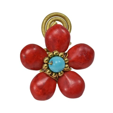 Handmade 28mm Handmade Synthetic Coral Flower Brass Wire Wrap Ring (Thailand) - Red