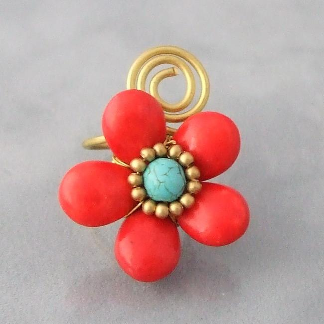 Handmade Brass Wire Red Coral and Turquoise Flower Wrap Ring (Thailand)