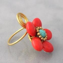 Handmade Brass Wire Red Coral and Turquoise Flower Wrap Ring (Thailand) - Thumbnail 2