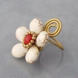Brass White Turquoise and Red Coral Flower Wrap Ring (Thailand) - Thumbnail 1