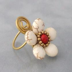 Brass White Turquoise and Red Coral Flower Wrap Ring (Thailand) - Thumbnail 2