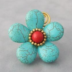Handmade Brass Large Turquoise and Red Coral Flower Wrap Ring (Thailand)
