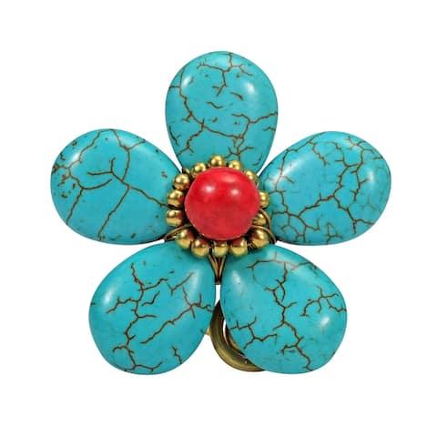 Handmade 40mm Blue Turquoise Flower Brass Ring (Thailand)