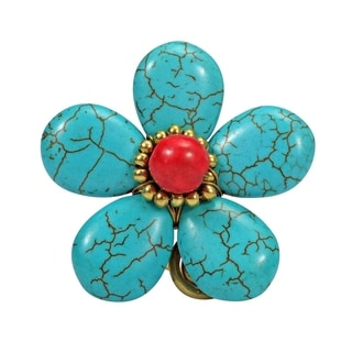40mm Handmade Blue Turquoise Flower Brass Wire Wrap Ring (Thailand)