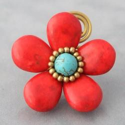 Brass Large Red Coral and Turquoise Flower Wrap Ring (Thailand)