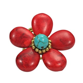 40mm Handmade Synthetic Coral Flower Brass Wire Wrap Ring (Thailand)