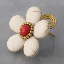 Handmade Brass Large White Turquoise/ Red Coral Flower Wrap Ring (Thailand) - Thumbnail 1