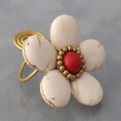 Handmade Brass Large White Turquoise/ Red Coral Flower Wrap Ring (Thailand) - Thumbnail 2
