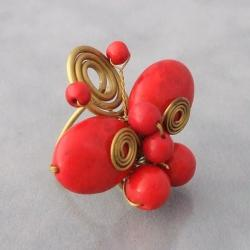 Handmade Brass Swirl Red Coral Butterfly Ring (Thailand) - Thumbnail 1