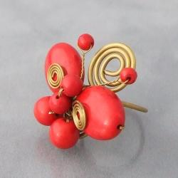 Handmade Brass Swirl Red Coral Butterfly Ring (Thailand) - Thumbnail 2
