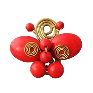 Handmade Gorgeous Synthetic Coral & Brass Butterfly Statement Ring (Thailand)