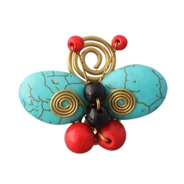Handmade Swirl Brass Blue-Red Butterfly Free Sz Ring (Thailand)