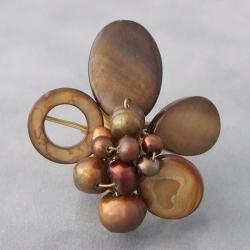 Brass Brown Shell and Freshwater Pearl Wrap Ring (3-10 mm) (Thailand)