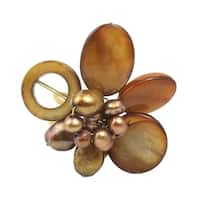 Handmade Shell & Gold Pearl Brass Ring (Thailand)