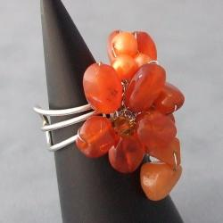 Base Metal Chalcedony/ Pearl/ Crystal Flower Ring (5-6 mm) (Thailand) - Thumbnail 1