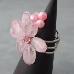 Base Metal Rose Quartz/ Pearl/ Crystal Flower Ring (5-6 mm) (Thailand) - Thumbnail 2