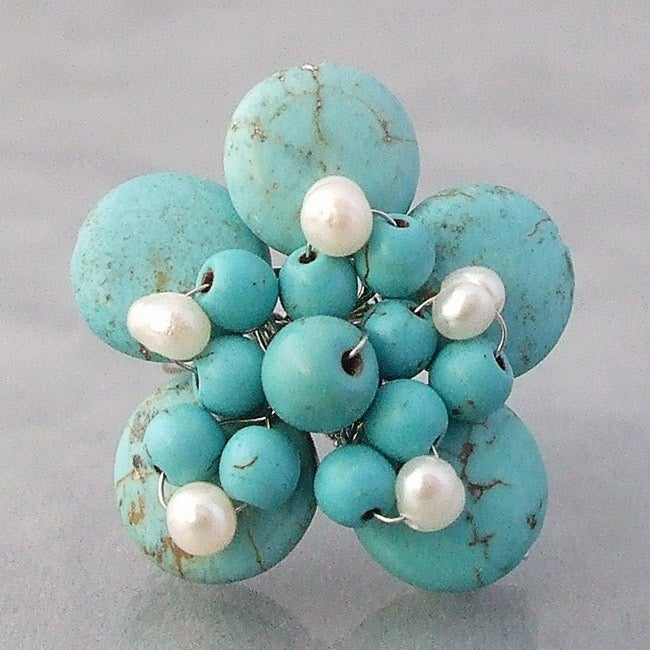 Handmade Base Metal Turquoise and Pearl Flower Wrap Ring (4-5 mm) (Thailand)