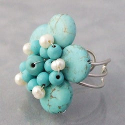 Handmade Base Metal Turquoise and Pearl Flower Wrap Ring (4-5 mm) (Thailand) - Thumbnail 1