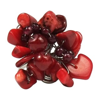 Handmade Synthetic Coral Flower Pearl Wrap Free Sz Ring (Thailand) - RED