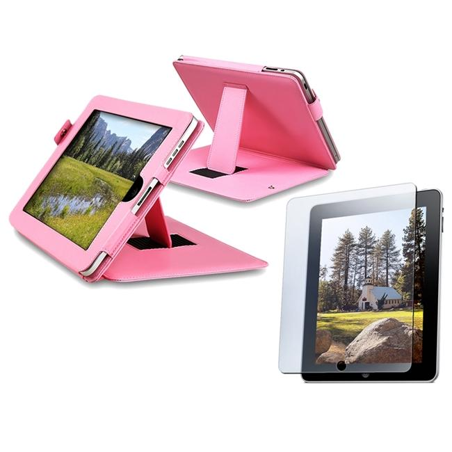 INSTEN Pink Leather Tablet Case Cover/ Screen Protector for Apple iPad