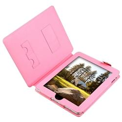 INSTEN Pink Leather Tablet Case Cover/ Screen Protector for Apple iPad - Thumbnail 2