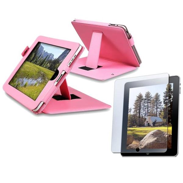INSTEN Pink Leather Tablet Case Cover/ Anti-glare Screen Protector for Apple iPad