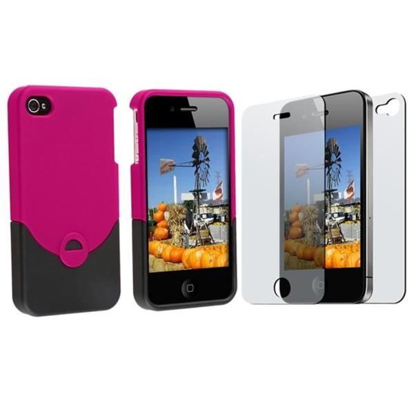 Snap-on Rubber Case/ 2-piece Anti-glare Screen Protector for Apple iPhone 4