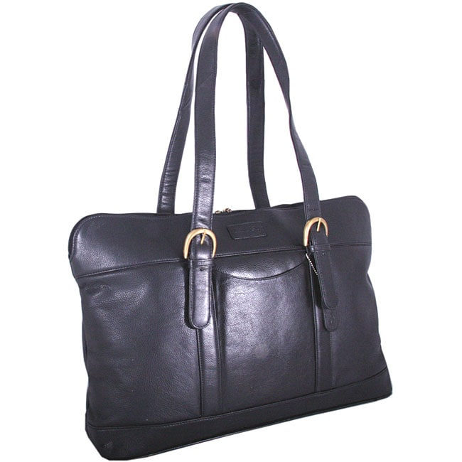Leatherbay Women's Commuter 17-inch Leather Laptop Tote