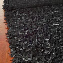 Safavieh Handmade Metro Modern Black Leather Decorative Shag Runner (2'3 x 4') - Thumbnail 2