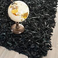 "Safavieh Handmade Metro Modern Black Leather Decorative Shag Runner - 2'-3"" x 4'"
