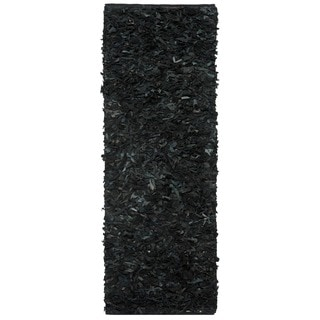 Safavieh Handmade Metro Modern Black Leather Decorative Shag Runner (2'3 x 6')