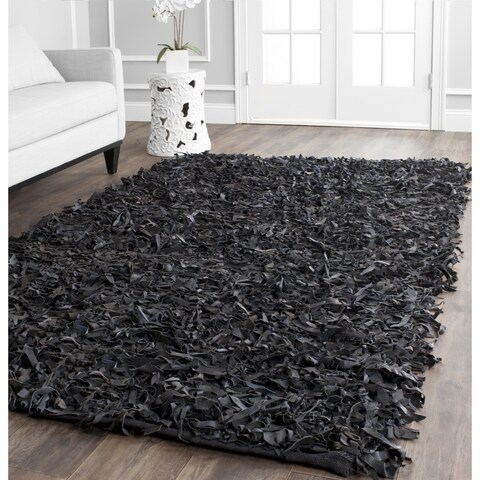 Safavieh Handmade Metro Modern Black Leather Decorative Shag Square Rug - 6' x 6' Square