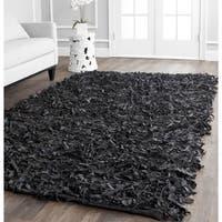 Safavieh Handmade Metro Modern Black Leather Decorative Shag Square Rug (6' Square)
