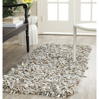 Safavieh Handmade Metro Modern Grey/ White Leather Decorative Shag Runner (2'3 x 6')