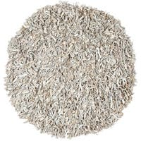 Safavieh Handmade Metro Modern Grey/ White Leather Decorative Shag Rug - 4' x 4' Round