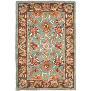 Safavieh Handmade Heritage Timeless Traditional Blue/ Brown Wool Rug (2' x 3')