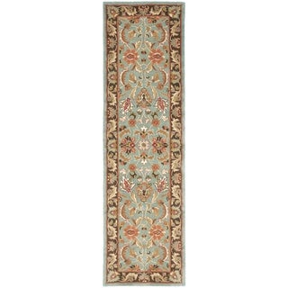 Safavieh Handmade Heritage Timeless Traditional Blue/ Brown Wool Runner (2'3 x 10')