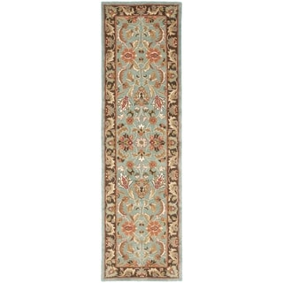 Safavieh Handmade Heritage Timeless Traditional Blue/ Brown Wool Runner (2'3 x 14')