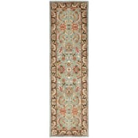Safavieh Handmade Heritage Timeless Traditional Blue/ Brown Wool Runner Rug - 2'3 x 14'
