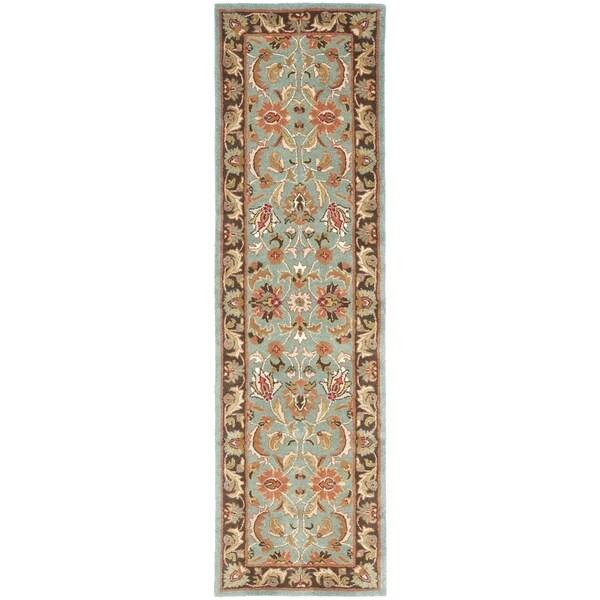 Safavieh Handmade Heritage Timeless Traditional Blue/ Brown Wool Runner (2'3 x 16')