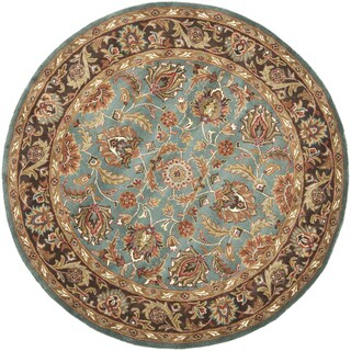 Safavieh Handmade Heritage Timeless Traditional Blue/ Brown Wool Rug (3'6 Round)