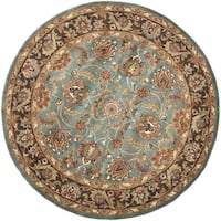"Safavieh Handmade Heritage Timeless Traditional Blue/ Brown Wool Rug - 3'6"" x 3'6"" round"