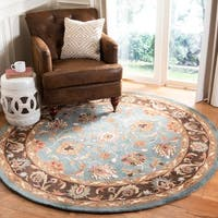 Safavieh Handmade Heritage Timeless Traditional Blue/ Brown Wool Rug - 6' x 6' Round