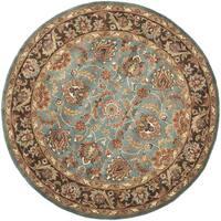 Safavieh Handmade Heritage Timeless Traditional Blue/ Brown Wool Rug - 8' x 8' Round