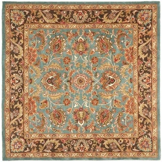 Safavieh Handmade Heritage Timeless Traditional Blue/ Brown Wool Rug (6' Square)