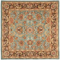 Safavieh Handmade Heritage Timeless Traditional Blue/ Brown Wool Rug - 8' x 8' Square
