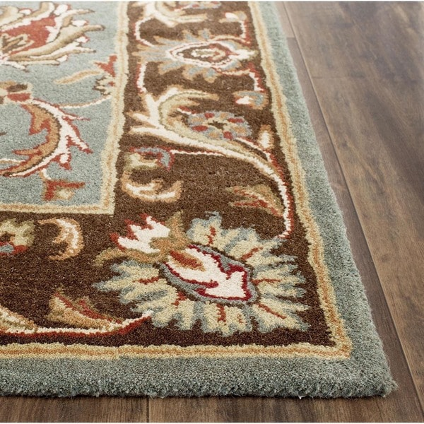 Safavieh Handmade Heritage Timeless Traditional Blue/ Brown Wool Rug (8' Square)