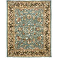 "Safavieh Handmade Heritage Timeless Traditional Blue/ Brown Wool Rug - 9'6"" x 13'6"""