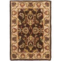 Safavieh Handmade Heritage Timeless Traditional Brown/ Ivory Wool Rug - 2' X 3'