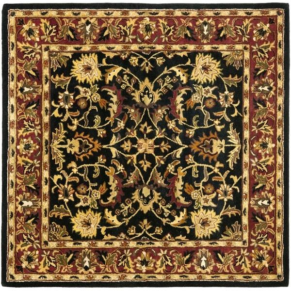 Safavieh Handmade Heritage Timeless Traditional Black/ Red Wool Rug (6' Square)